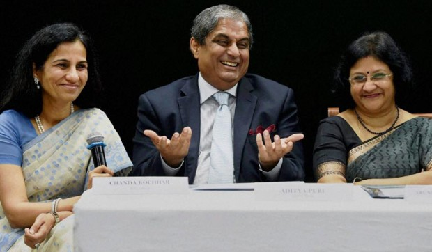 Chanda Kochhar With MD Of HDFC Bank Aditya Puri and Chairperson State bank of India Arundhati Bhattacharya