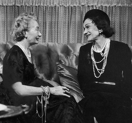 Mrs. Carmel Snow chatting with Gabrielle Chanel