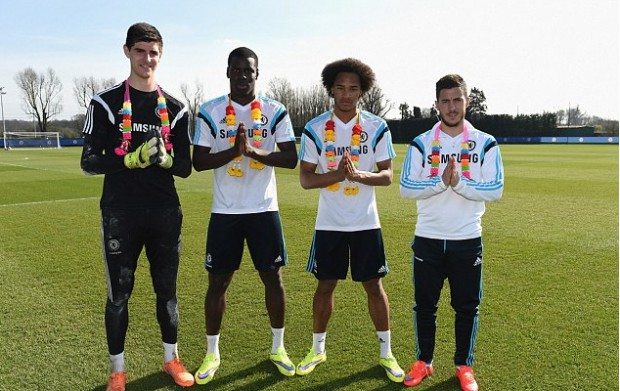 Thibaut Courtois with Kurt Zouma, Izzy Brown and Eden Hazard