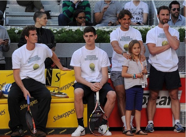 Courtois with Andy Murray and Rafael Nadal