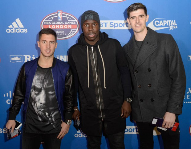 Eden Hazard, Kurt Zouma and Thibaut Courtois