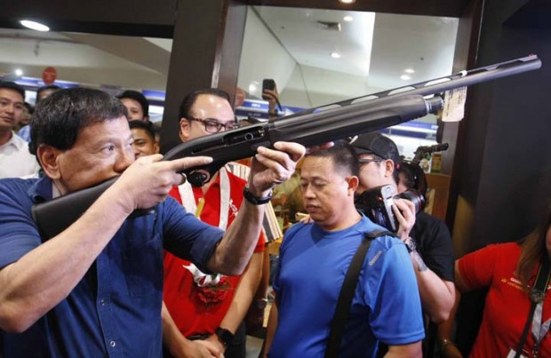 Davao City Mayor Rodrigo Posing with Gun