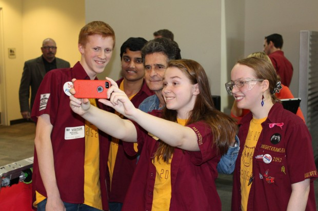 Team KnightKrawler captains taking selfie with Dean Kamen
