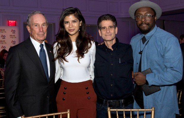 Dean Kamen with Michael R. Bloomberg, Diana Lee Guzman and will.i.am. at inagural of a charity event