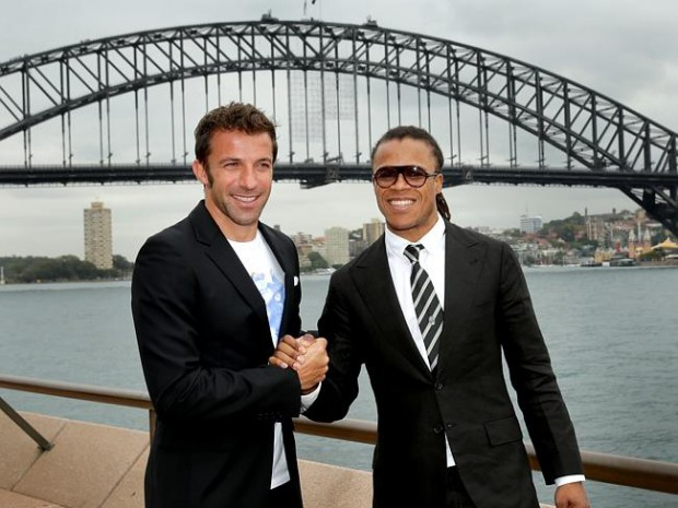 Alessandro Del Piero with Juventus legend Edgar Davids