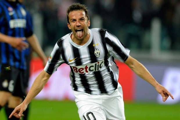 Del Piero celebrating after scoring a goal