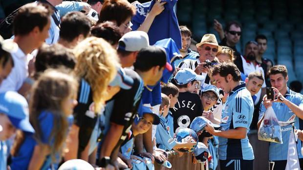Del Piero signing autographs to fans