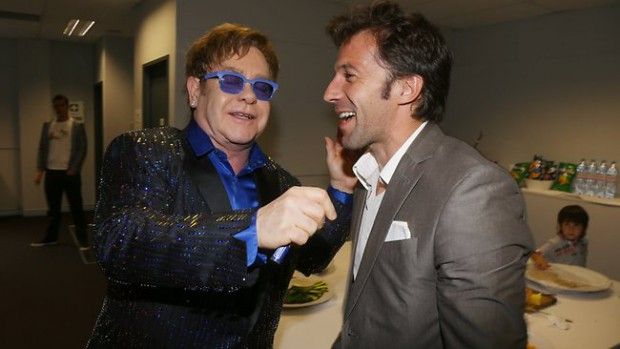 Del Piero with Sir Elton John
