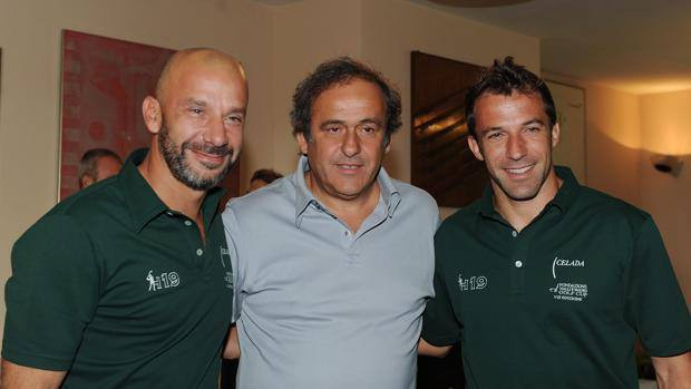 Del Piero with Vialli and Platini