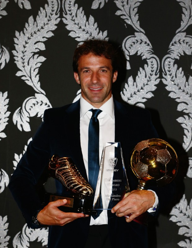 Alessandro Del Piero with his awards