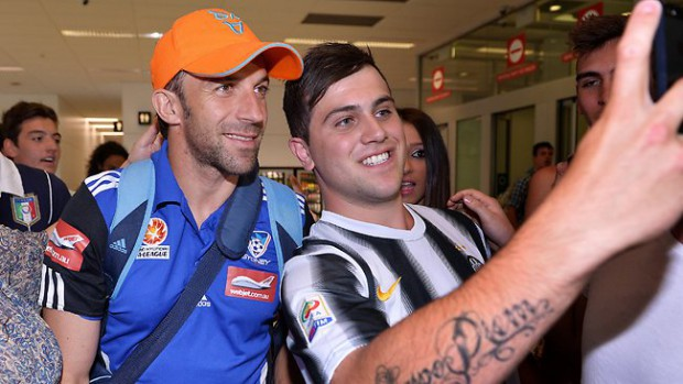 Del Piero posing for a selfie with a fan