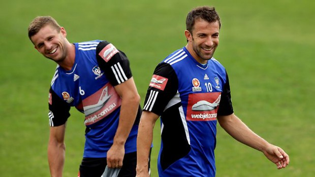 Jason Culina and Del Piero during practice session