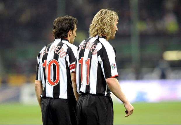 Pavel Nedved and Del Piero during a match