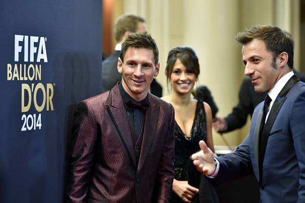 Alessandro Del Piero with Lionel Messi