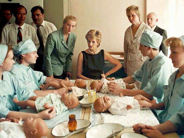 Princess Diana at children's hospital in Tushino