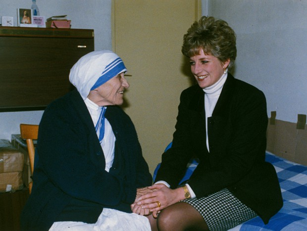 The Princess of Wales in a conversation with Mother Teressa