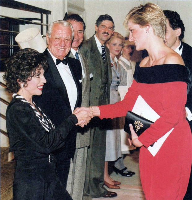Princess Diana shaking hands with actress Joan Collins