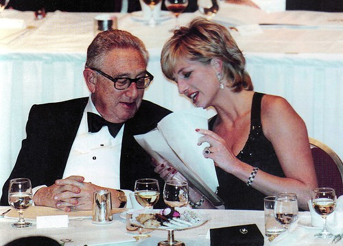 Princess Diana with Henry Kissinger for a charity