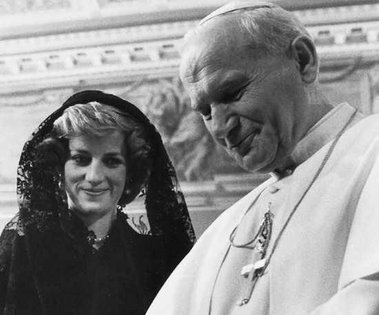 Princess Diana with Pope John Paul-II