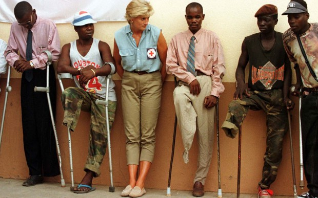 The Princess of Wales talks to amputees during her visit to Angola