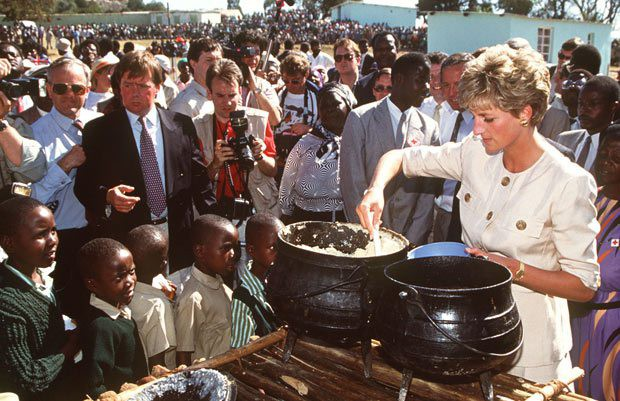 Princess Diana serving food during a charity event