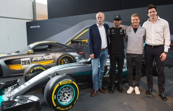 Dieter with Hamilton, Nico Rosberg and Torger