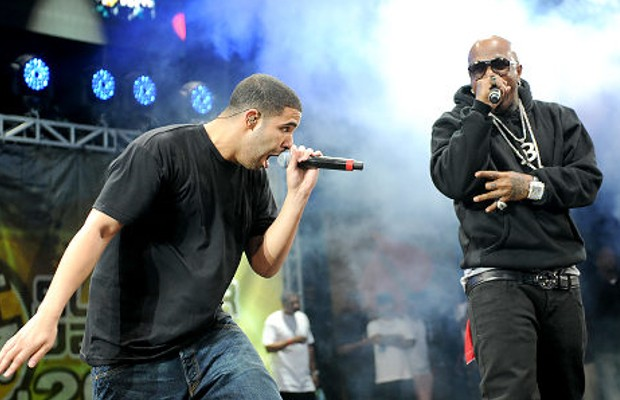 Drake and Timberland during a concert