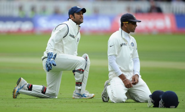 Mahi and Dravid in a test match