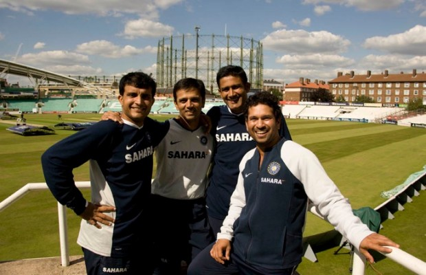 Rahul with Ganguly, Kumble and Sachin