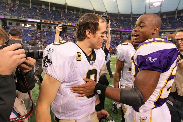 Drew Brees and Adrian Peterson