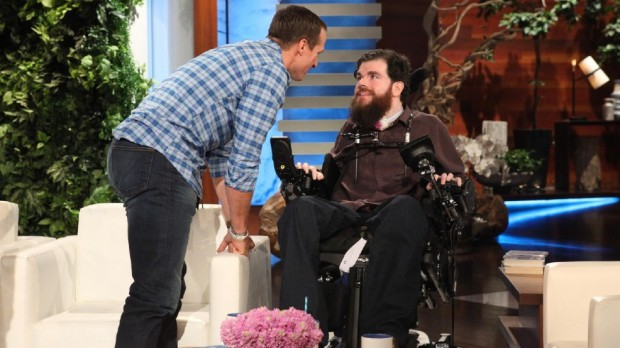 A fan meets Drew Brees in the Ellen Degeneres Show