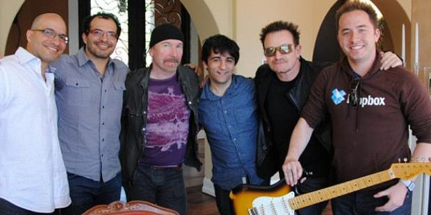 U2 Rockstars with Dropbox Founders Drew and Arash