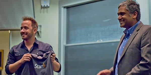 Ananta Chandrakasan presented a Start6 t-shirt to Drew Houston