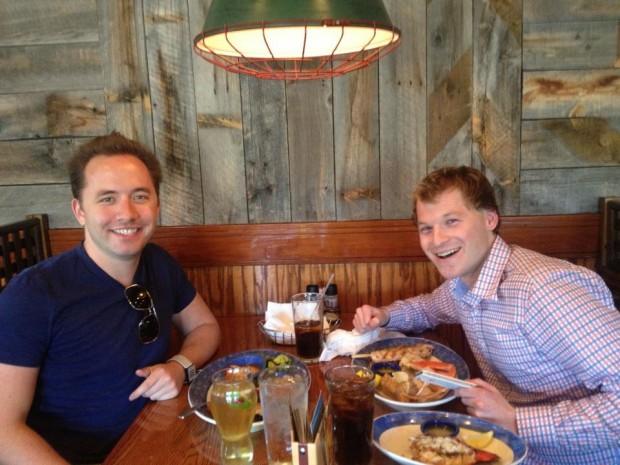 Drew Houston having lunch with Trip Adler