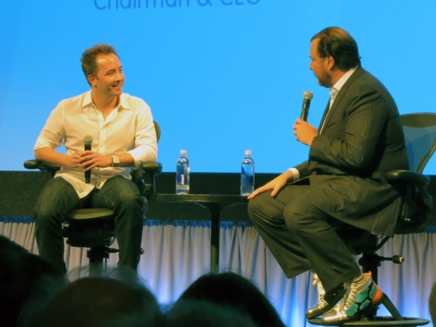 Drew Houston with Marc Benioff at Dreamforce 2013