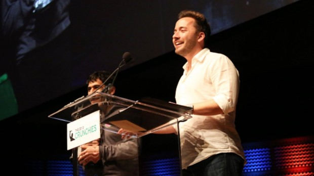 Arash Ferdowsi and  Drew Houston at Crunchies Award