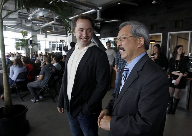 Dropbox founder having a conversation with Mayor Ed Lee