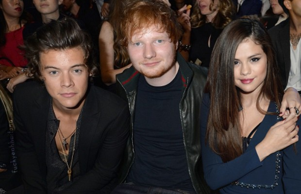 Harry Styles and Selena Gomez with Ed Sheeran