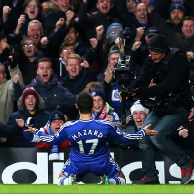 Eden Hazard's celebrations after winning a match