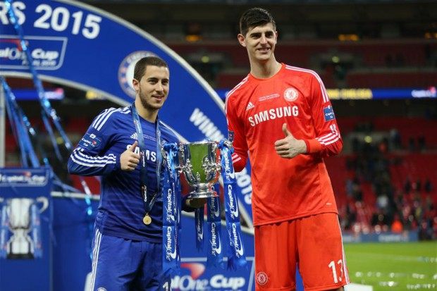 Eden Hazard with Thibaut Courtois