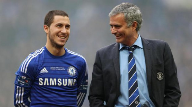 Eden Hazard with manager Jose Mourinho