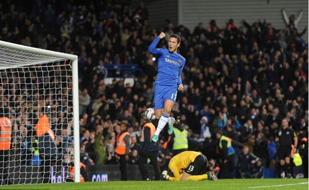 Eden Hazard celebrating after scoring a goal