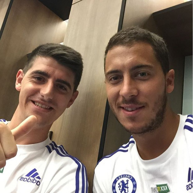 Thibaut Courtois with Eden Hazard