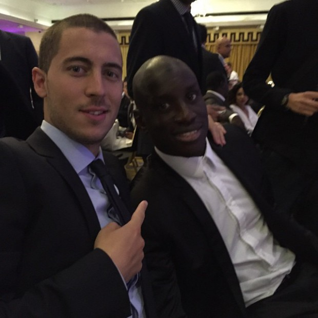 Eden Hazard with Demba Ba