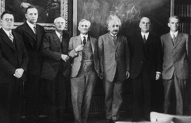 Albert Einstein with M.L. Humason, Edwin Hubble, C.E. St. John, Albert A. Michelson, W.W. Campbell, and W.S. Adams