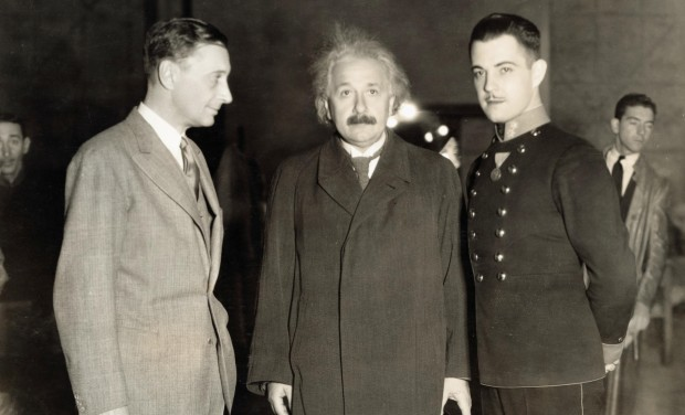 Albert Einstein with director Jacques Feyder and actor Ramon Novarro at the MGM studios in 1931