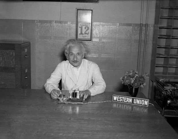 Albert Einstein using Western Union to launch the Pan American Exposition in Dallas