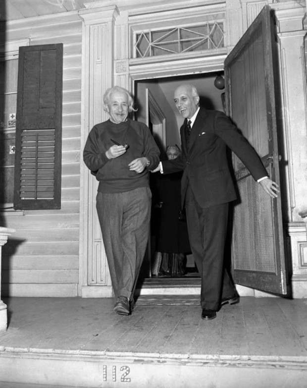 Prime Minister Nehru of India with Albert Einstein while visiting his home in Princeton