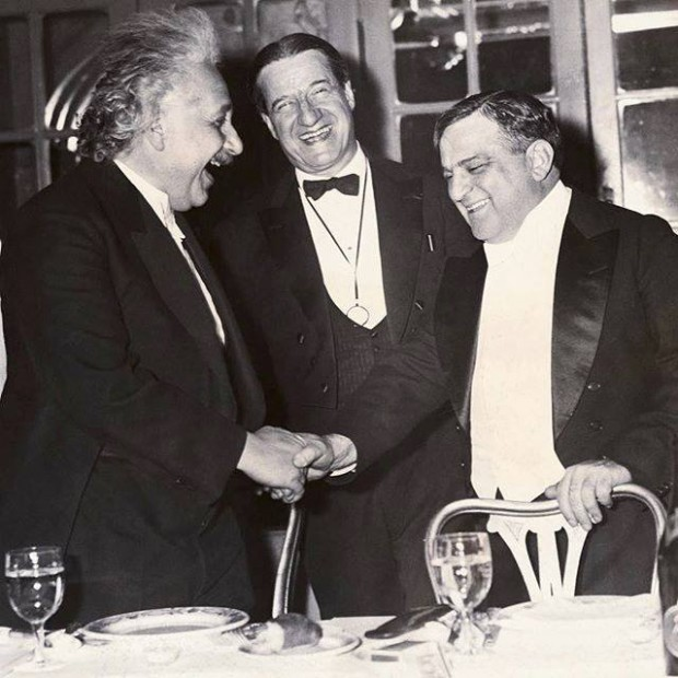 Einstein shaking hands with NYC Mayor Fiorello LaGuardia