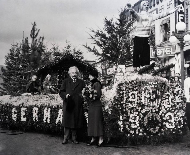 Einstein with his winning float in 1932 parade